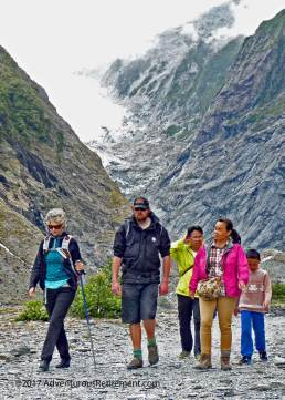 Glacier Valley Eco Tours guide and tour group at Franz Josef Glacier